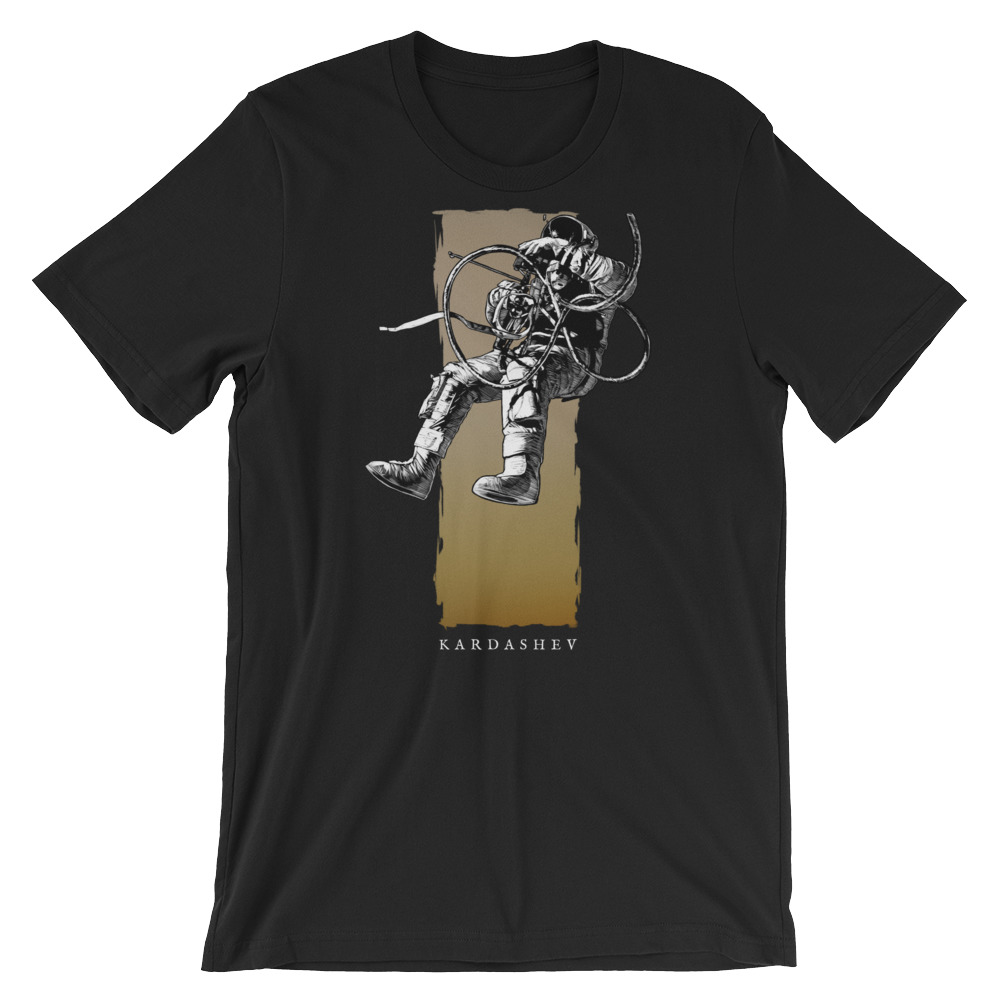 Vigilo Astronaut on Black Premium Crew Neck